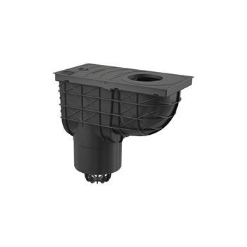 Regensinkkasten 305x155/125 mit senkrechtem Abgang, schwarz