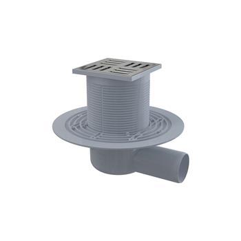Bodenablauf mit waagrechtem Abgang, Einlaufrost Messing - Chrom 105x105/50