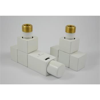 Square Thermostatventil Set Eckform, Weiß