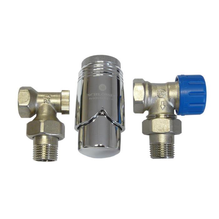 Lot de valves pour radiateur 90° Equerre d'ASSEMBLAGE